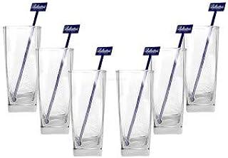 Ballantines Longdrink Glas Gläser Set - 6X Longdrinkgläser 2/4cl geeicht  6X Stirrer in blau