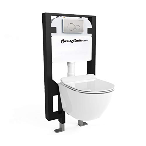 Swiss Madison Well Made Forever SM-WK449 St. Tropez Wall Hung Toilet Bundle, Glossy White