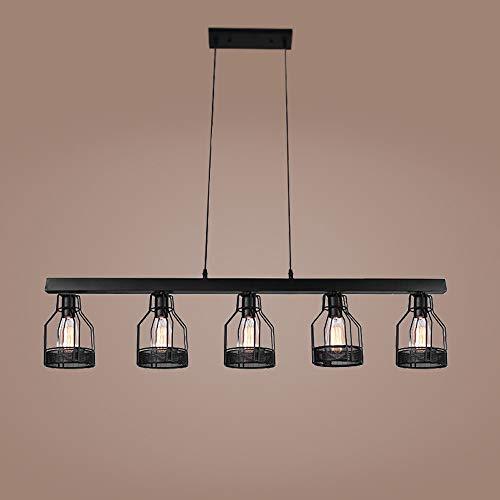 TRPYA Lámparas de candelabros industriales LED, Hierro Retro 5 Luces Colgantes Luces Retro Restaurante Luz Colgante Decorativa