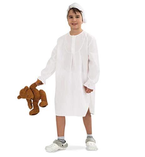 KarnevalsTeufel Kinder-Kostüm Nachthemd, langes Schlafhemd weiß mit passender Mütze (128/140)