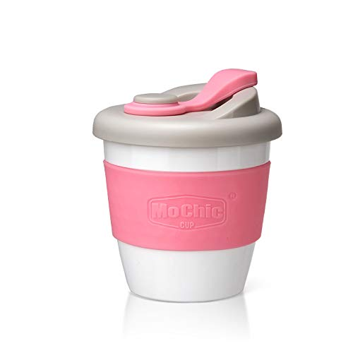 Reusable Coffee Cup Travel Mug with Leak-Proof Lid Non-Slip Sleeve Biodegradable PLA BPA Free Dishwasher Microwave Safe (Pink, 8Oz)