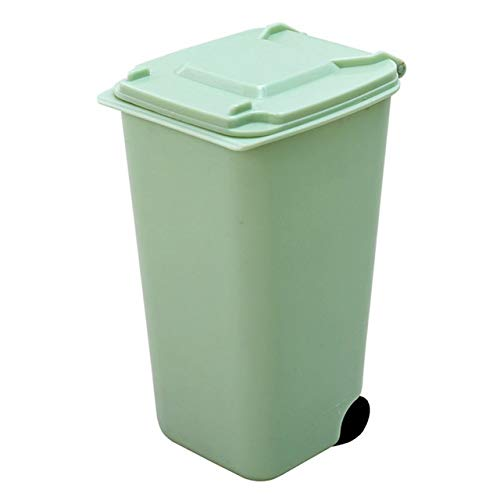 CHENClajt Papelera Cocina Bote de Basura, Mini Bote de Basura de Escritorio 4color Basura Caja de Almacenamiento Sala de Estar Mesa con Tapa de Papel pequeña Cesta Bolsa de plástico (Color : Green)