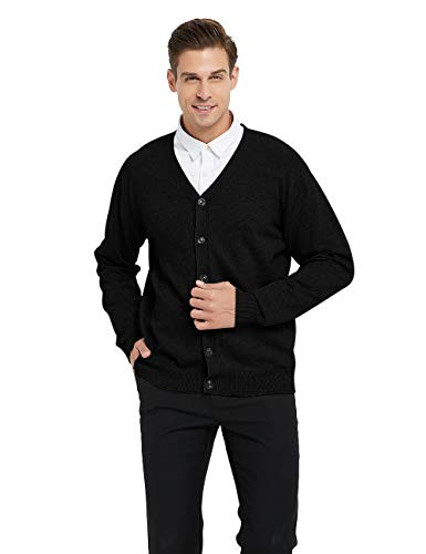 TOPTIE Men's Casual Fit V-Neck Cotton Sweater Cardigan-Black-M