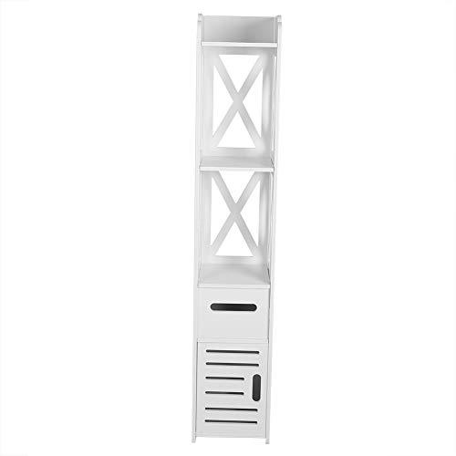 Säulenschrank, Badezimmerschrank mit Schublade, 2 Einlegeböden und Türen im Rollladen-Stil, moderner Badezimmerschrank, weiß, 120 x 22 x 22,5 cm