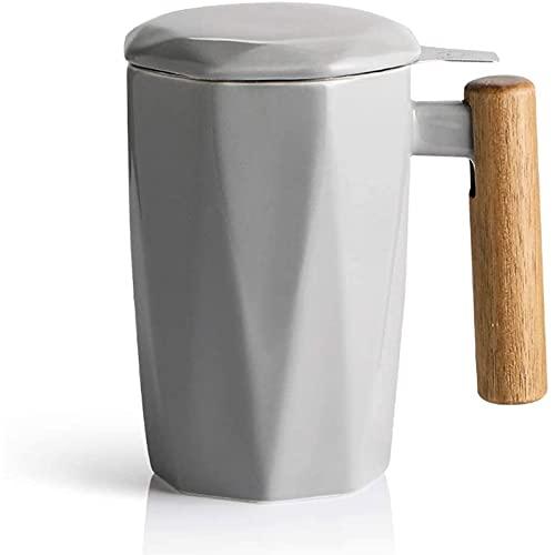 JNOI Taza de Viaje de cerámica aislada, Taza de té de cerámica con infusor y Tapa, Taza de té de Madera de Madera, casa de Negocios de Moda 390ml Taza de café