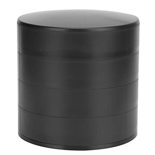 Joyero - Organizador Multifuncional de la Caja de la colección de la Caja de Almacenamiento de la joyería de Cuatro Capas Redonda con Tapa(Negro)
