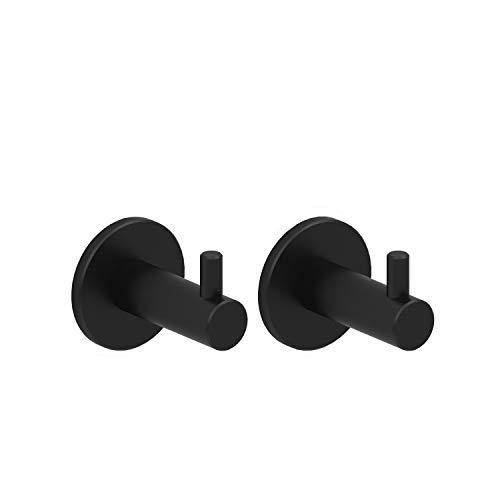 Kon-fort Home Colgador toalla negro, Juego 2 accesorios baño de diseño, acero inoxidable negro, para colgar toallas, albornoces, sombreros. Perchas de pared resistentes, color negro mate.
