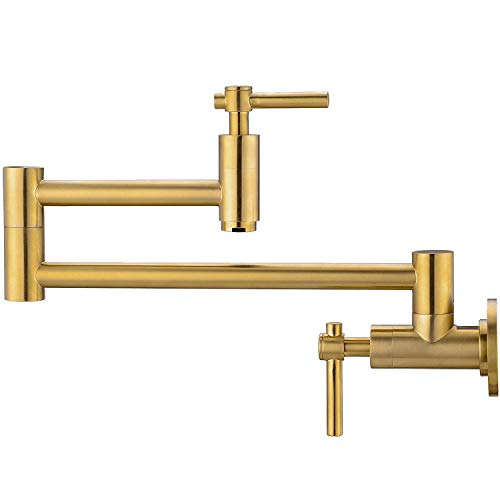 Pot Filler Faucet, Brass Kitchen Faucet Wall Mount Gold Lead-Free, Double Joint Swing Arm Sink Faucet, Articulating Wall Mount Two Handle Folding Stretchable Faucet Gold