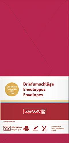 BRUNNEN 105125124 Briefumschlag (DIN lang, 110 x 220 mm, gummiert, Papier, 80 g/qm, 10 Umschläge) mittelrot