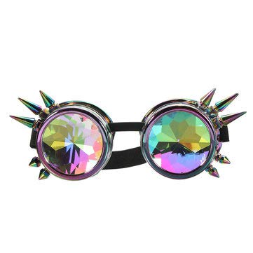 C-FUNN - 5 Colores Kaleidoscope Glasse Rave Prism Sunglasses Crystal Lens Rainbow Party - Colorido