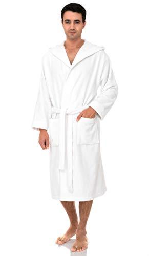 towelselections Robe, turco hombre de algodón con capucha albornoz de rizo, hecho en Turquía -  Blanco -