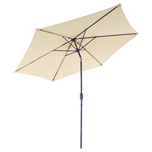 Nexos GM35105 parasol Ø 290 cm stalen frame UV-bescherming UPF 50+ tuinscherm marktscherm met zwengel, kantelbaar scherm crème waterafstotend hoogte 230 cm,