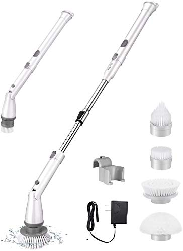 Homitt Electric Spin Scrubber Cordless Shower Scrubber Built-in 2 LG Batteries, 360 Power Bathroom Scrubber with 4 Replaceable Cleaning Brush Head and Adjustable Extension Handle for Tub, Tile, Floor