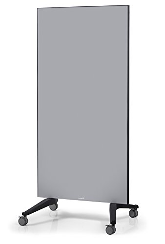 Legamaster 7-105400 Mobile Glasboard, doppelseitige Glas-Magnettafel auf Rollen, 90 x 195 cm, grau