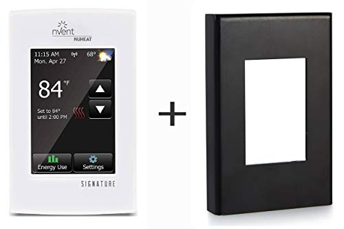 Nuheat SIGNATURE Programmable Dual-Voltage Thermostat with WiFi and Luxestat Matte Black Steel Thermostat Cover