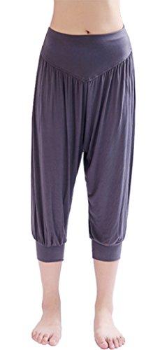 Hoerev - Pantaloni da pilates/yoga, super-morbidi, in spandex, a mezza gamba, stile harem, Donna, PartialUpdate, Grigio scuro, XL
