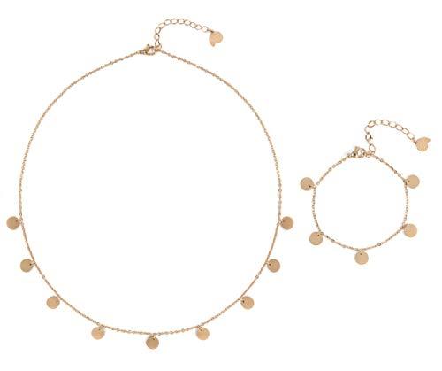 Happiness Boutique Damen Schmuckset in Rosegold 2-TLG. | Filigrane Kette mit Runden Disk Anhängern und Zartes Plättchen Armband