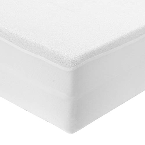 MERCURY TEXTIL - Protector de colchon Impermeable, Maxima absorvencia, 100% Microfibra, Anti-Acaros, Anti-Bacteriano, Cubre Colchon Ajustable (Cama 135)