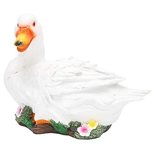 Qirg Estatua de Pato de simulación, estatuilla de Pato Creativew Resina Natural Exquisita Mano de Obra para jardín para decoración de estanques(White Lying Duck)