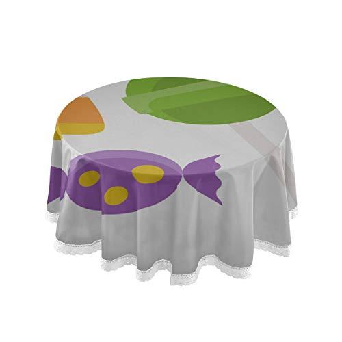 N\A Mesa de Comedor Redonda Icono de semilla de maiz Cubierta de Mesa Cubierta de 60 Pulgadas Costura de Encaje Decoracion de poliester de macrame