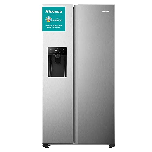 Hisense RS650N4AC1 - Frigorífico Side By Side, Total No Frost con ventilación Multi Air Flow, Dispensador de hielo y agua, 499 L de capacidad, acabado inoxidable