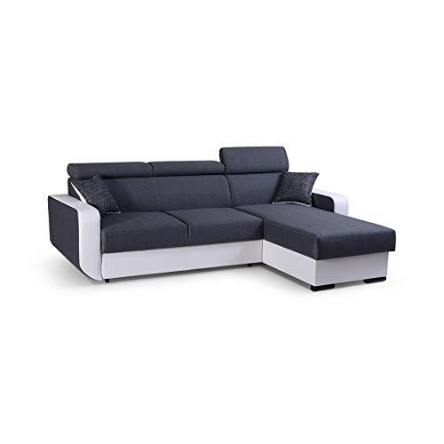 mb-moebel Ecksofa mit Schlaffunktion Eckcouch mit Bettkasten Sofa Couch Wohnlandschaft L-Form Polsterecke Pedro (Grau, Ecksofa Rechts)