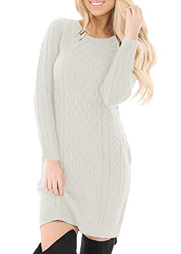 Womens Warm Long Sleeve Cable Knit Casual Bodycon Sweater Dress Oatmeal L