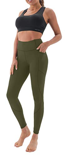 AFITNE Yoga Pants for Women High Waisted Tummy Control Athletic Leggings with Pockets Workout Gym Yoga Pants Army Green - S