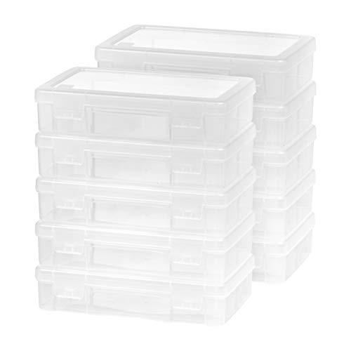 IRIS USA MCC Plastic Clear Hobby Modular Craft Supply Art Satchel Storage Box Organizer with snap-tight closure latch, Medium, 10 Pack