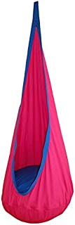 Wealers Folding Children Nest Hanging Swing Pod Chair Seat Indoor and Outdoor Hammock Exercise Use Toy for Kids with Inflator Pump (Pink)