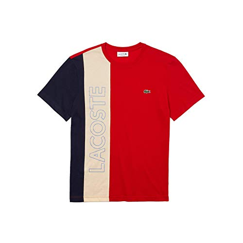 Lacoste TH0113 T-Shirt, Rouge/Naturel Clair-Marin, XS Uomo