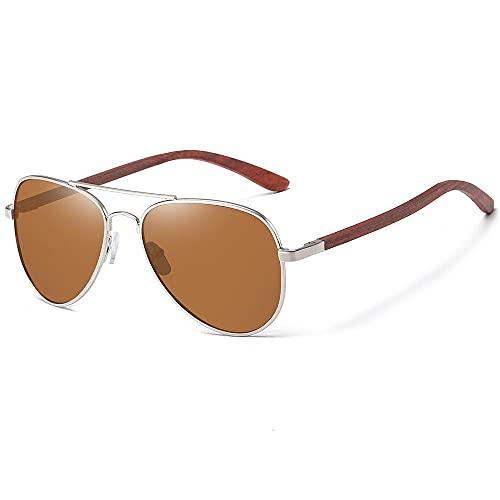 WQZYY&ASDCD Gafas de Sol Gafas De Sol Clásicas De Madera Aviador con Montura De Metal, Gafas De Sol De Madera para Hombres, Gafas De Sol De Lujo para Conducción De Metal, Marrón