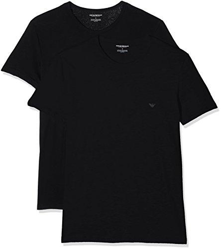 Emporio Armani 111647 Camiseta Interior, Negro (Black), Large (Tamaño del Fabricante:L) (Pack de 2) para Hombre