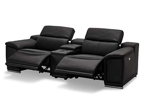 Ibbe Design 2er Sitzer Modul Sofa Schwarz Leder Relaxsofa Couch mit Elektrisch Verstellbar Relaxfunktion Heimkino Sofa mit Bar und Ladegerät, 242x102x73 cm