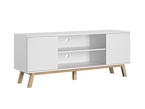 Meuble TV scandinaves Banc télé Moderne étagère Vero Blanc Mat