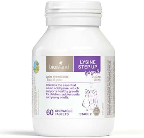 Bio Island Lysine Step Up for New arrival Chewable Tablets Very popular! Austral Youth 60