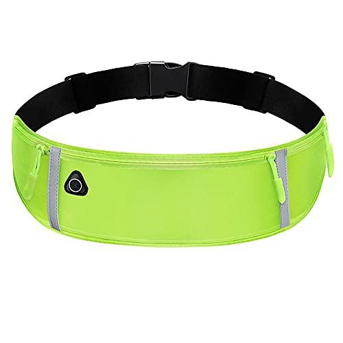 Riñonera Running para Correr, Impermeable, para Entrenamiento, Viajes y más, con Tiras Reflectantes y Orificio para Auriculares, Ideal para Todo Tipo de teléfonos (Verde)