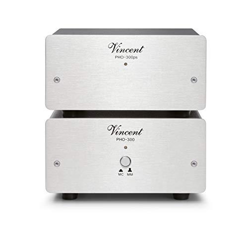 Vincent PHO-300 High-End Phonovorverstärker in Aluminium-Gehäuse, externes Netzteil, für Plattenspieler mit MM und MC-Abtast-Systemen, Silber