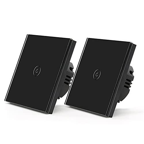 HUANHUAN Huan Store 2 Pack WiFi Light Touch Switch 1Gang 1/2/3 Way Smart Wall Switch Wireless Alexa Switch Switch Tuya Smart Home Interruttore 3 Posizioni (Color : Black)