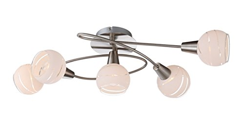 Trango 5-flammig dimmbar LED Deckenleuchte, Deckenlampe in Edelstahl-Look mit Design Gläsern TG1001-52D incl. 5x LED Leuchtmittel 3000K warmweiß, Deckenstrahler, Wohnzimmer Lampe, Spots schwenkbar