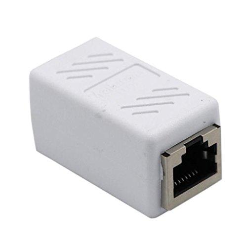 perfk RJ45-uttag till uttag nätverkskabel CAT6 koppling patchkabel anslutning Ethernetkabeladapter, 4,3 cm x 2 cm x 2 cm – vit