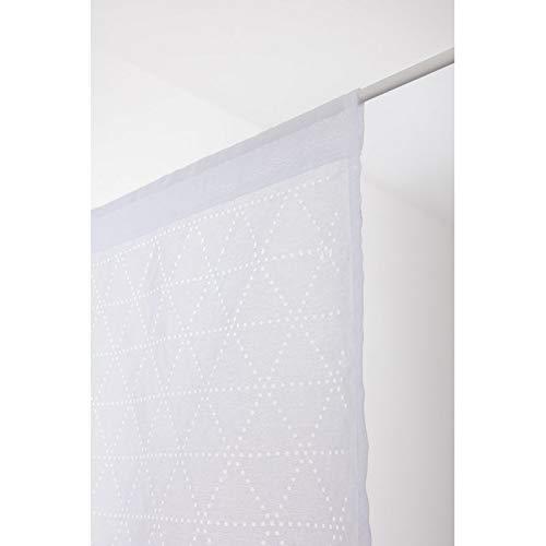 RideauDiscount Paire de Voilages 65 x 160 cm à Passe Tringle Ajouré Motif Géométrique Lasercut Blanc