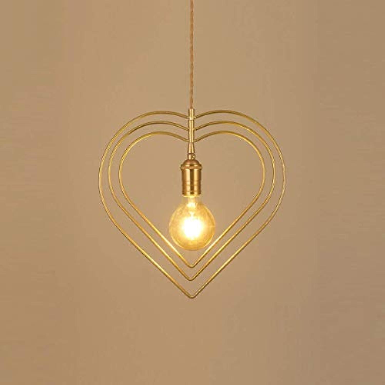 NIAI Retro Stil Gelb Metall Liebe Kfig Deckenpendelleuchte Schatten Liebe Geformte Metall Deckenleuchte E27