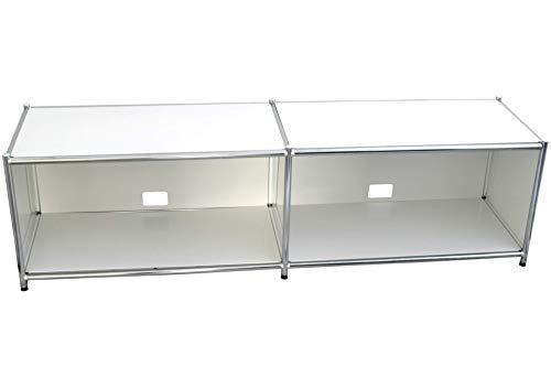 Modernes Lowboard - Fernsehtisch | aus Metall | pulverbeschichtet | weiß | 150 cm Breit | TV-Bank - Fernsehschrank - TV-Möbel