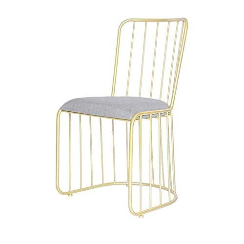 UNU_YAN Muebles for el hogar Vestir Silla de Comedor Silla de Metal de algodón de Lino Resistentes adecuados balcón de la habitación del Hotel Sala sillas durables Moderno Comedor (Color: Oro)