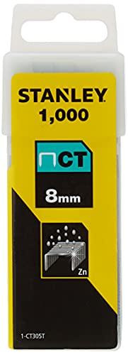 Stanley 1-CT305T Grapa Tipo 300-8mm-1000u. (para Grapadora 6-CT10X), 8mm, Set de 1000 Piezas