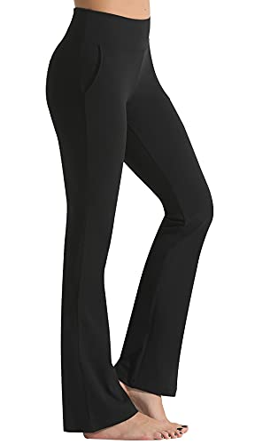 FITTIN Bootcut Yoga Pants for Women with Pockets - Bootleg Workout Pants for Women Flare Work Pants Tummy Control Dress Pants Black Large