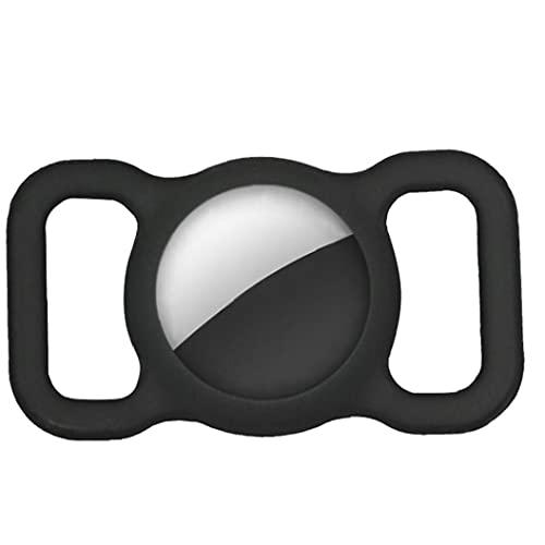 FeelMeet Caja de rastreador de Silicona Compatible con Airtag Anti-Perdió Pet Collar CLAVEER Titular Negro