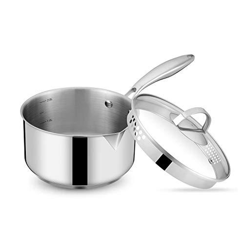 Eono by Amazon Edelstahl-Kochtopf mit Glasdeckel, Siebdeckel und Ausgüssen für einfaches Gießen mit ergonomischem Griff, Mehrzweck-Saucen-Topf-Induktion mit Deckel 2,5 l, Geschirrspüler/Ofensicher