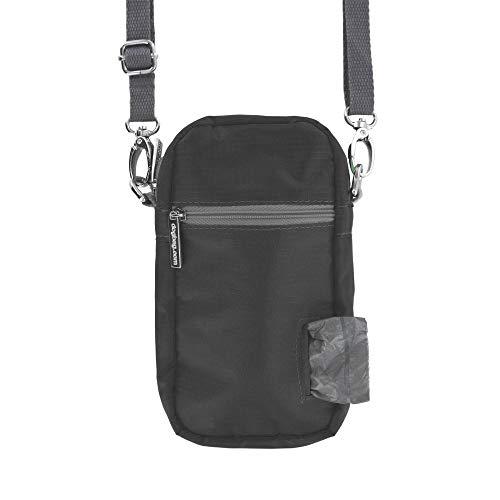 Doggie Walk Bags Hundeleckerli-Beutel für Training, Umhängetasche, Hundekotbeutelhalter, verstellbarer Gurt mit Clips, große Taschen für Handy, Leckerlis, Kotbeutel, 6 Rolls, schwarz